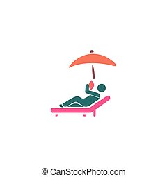 Sunbathe Icon Vector. Flat simple color pictogram