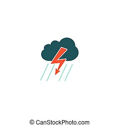 Thunderstorm Icon Vector. Flat simple color pictogram