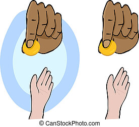 Charity and Giving - Hands and giving a gold coin...