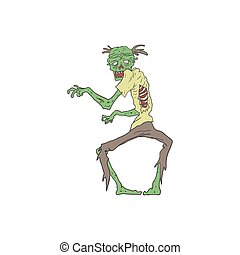 Green Skin Creepy Zombie Outlined Drawing - Green Skin...