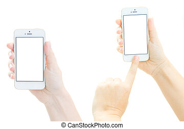 Phone mock up - Someones hands holding and pointing at new...