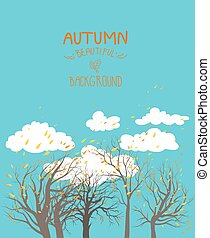 Fall leaves - Autumn background with blue sky and trees....