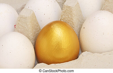 One golden egg in an egg carton - A golden egg standing out...
