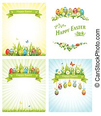 Easter holiday cards set. Festive illustrations with place...