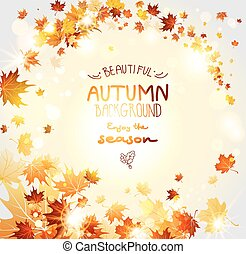 Fall background with fly leaves