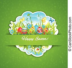 Easter holiday background. Festive card with place for text