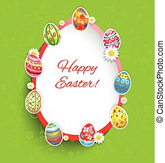 Holiday easter frame on green background