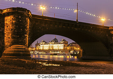 Augustus Bridge on Elbe River. Dresden, Saxony, Germany.