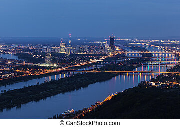 Skyline of Donau City - Vienna DC and bridges on Danube River