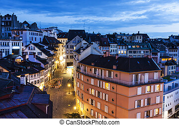 Lausanne panorama at night. Lausanne, Vaud, Switzerland.