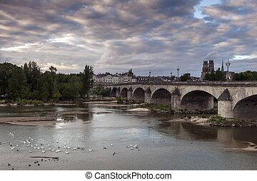 Orleans panorama with Loire River Orleans, Pays de la Loire,...