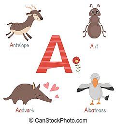 Cute zoo alphabet - Cute vector zoo alphabet. Funny cartoon...