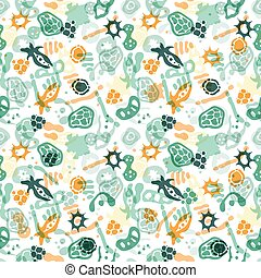 Bacteria seamless pattern - Vector seamless pattern with...