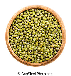 Mung beans in a wooden bowl on white background. Dried beans...