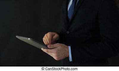 businessman in suit working with tablet pc - business,...