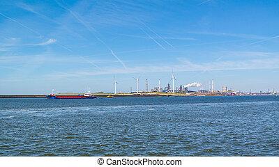Steel industry in IJmuiden near Amsterdam, Netherlands -...