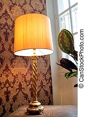 Old lamp of stay with a lampshade. - Old lamp of stay with a...