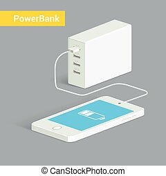 Powerbank charging a white smartphone. Isometric view....