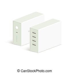 vector powerbank icon on white background. Isometric view....