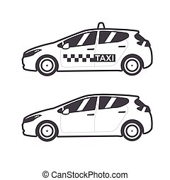 Taxi car icon. Vector flat line illustration.