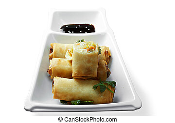 Vegetable spring rolls. These snacks are traditional for...