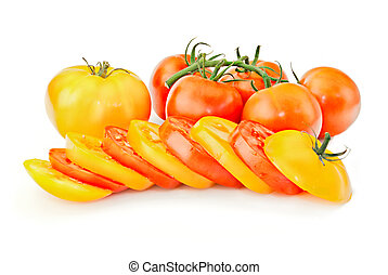Fresh vitamin background. Red & yellow tomato mix