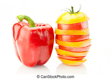 Fresh vitamin background. Red paprika and red & yellow...