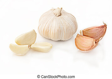 Fresh garlic over white background