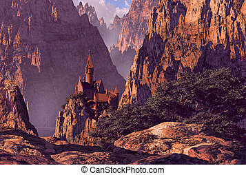 Castle in Deep Canyon - Castle in the mountains in a deep...