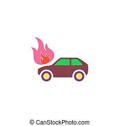 Car fire Icon Vector
