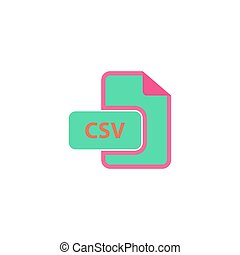 CSV Icon Vector Flat simple color pictogram