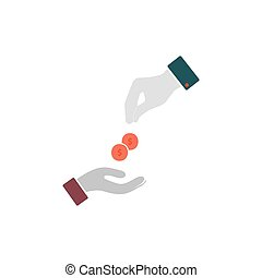 Dollar hand Icon Vector Flat simple color pictogram