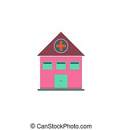Hospital Icon Vector. Flat simple color pictogram