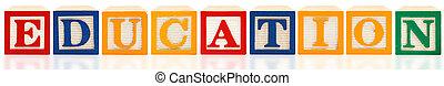 alfabeto, blocos, Educação