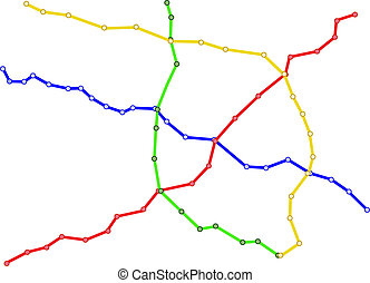 subway train map - Illustration of a generic color-coded...