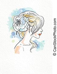 Wedding watercolor bride bride with beautiful styled hair...