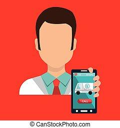 doctor smartphone medical service vector illustration eps 10