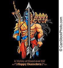 Lord Rama and Ravana in Dussehra Navratri festival of India...