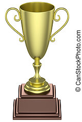 Golden trophy cup isolated - Sports winning and championship...