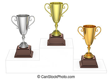 Golden, silver and bronze trophy cups on imaginary winners...