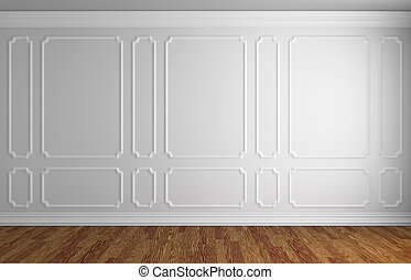 White wall in classic style room with parquet