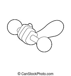 Hand holding dumbbell icon, outline style - Hand holding...