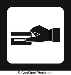 Hand holding credit card icon, simple style - Hand holding...