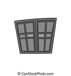 Double door icon, black monochrome style - Double door icon...