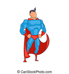 Standing Superhero in red cape icon, cartoon style -...