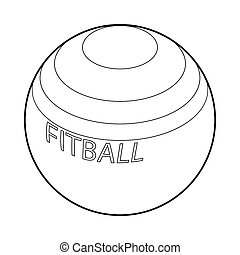 Fitball for fitness icon, outline style - Fitball or large...