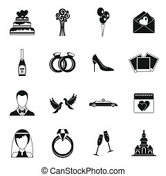 Wedding icons set, simple style - Wedding icons set in...