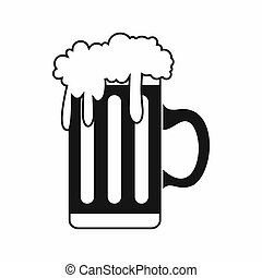 Mug with beer icon, simple style - Mug with beer icon in...