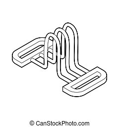 Hand expander gym equipment icon, outline style - Hand...