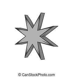 Eight pointed star icon, black monochrome style - Eight...